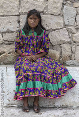 Young Tarahumara woman outside San Ignacio de Arareko church, Chihuahua Mexico
