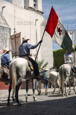 Horses prepare to be blessed in San Miguel de Allende Mexico
