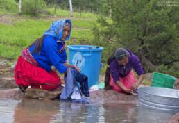 Rarámuri women washing clothes, Chihuahua Mexico