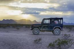 Land rover defender in Chihuahua Desert, Mexico